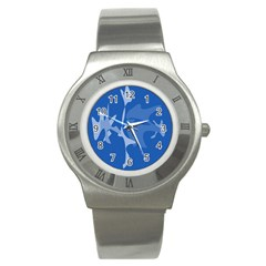 Blue amoeba abstraction Stainless Steel Watch