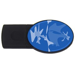 Blue amoeba abstraction USB Flash Drive Oval (4 GB)
