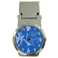 Blue amoeba abstraction Money Clip Watches