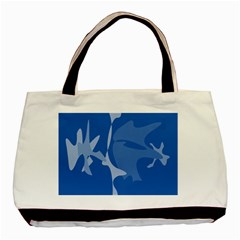 Blue amoeba abstraction Basic Tote Bag