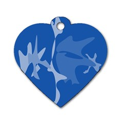 Blue amoeba abstraction Dog Tag Heart (Two Sides)