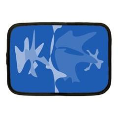 Blue amoeba abstraction Netbook Case (Medium)