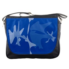 Blue amoeba abstraction Messenger Bags