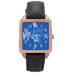 Blue amoeba abstraction Rose Gold Leather Watch