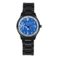 Blue amoeba abstraction Stainless Steel Round Watch