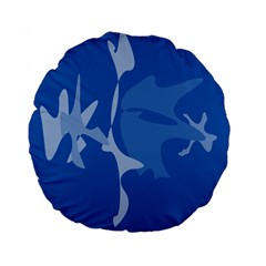 Blue amoeba abstraction Standard 15  Premium Flano Round Cushions