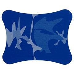 Blue amoeba abstraction Jigsaw Puzzle Photo Stand (Bow)