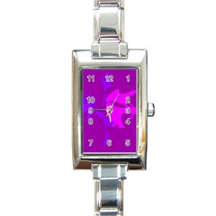 Purple, pink and magenta amoeba abstraction Rectangle Italian Charm Watch