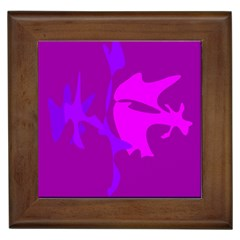 Purple, pink and magenta amoeba abstraction Framed Tiles
