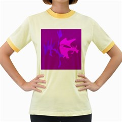 Purple, pink and magenta amoeba abstraction Women s Fitted Ringer T-Shirts