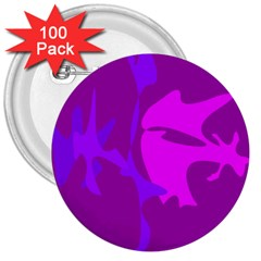 Purple, pink and magenta amoeba abstraction 3  Buttons (100 pack)