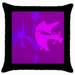 Purple, pink and magenta amoeba abstraction Throw Pillow Case (Black)