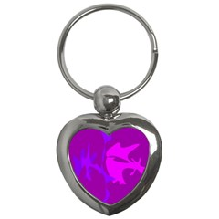 Purple, pink and magenta amoeba abstraction Key Chains (Heart)