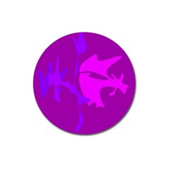 Purple, pink and magenta amoeba abstraction Magnet 3  (Round)