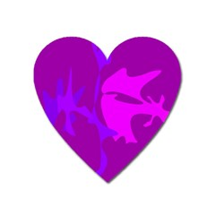 Purple, pink and magenta amoeba abstraction Heart Magnet