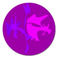 Purple, pink and magenta amoeba abstraction Magnet 5  (Round)