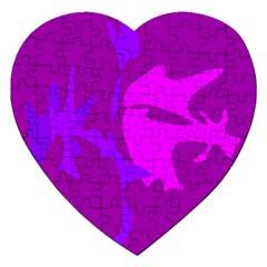 Purple, pink and magenta amoeba abstraction Jigsaw Puzzle (Heart)