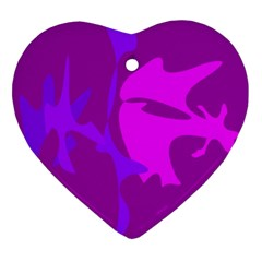 Purple, pink and magenta amoeba abstraction Heart Ornament (2 Sides)