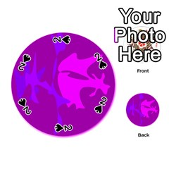 Purple, pink and magenta amoeba abstraction Playing Cards 54 (Round)