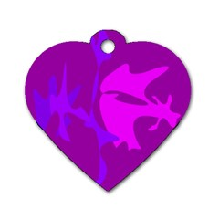 Purple, pink and magenta amoeba abstraction Dog Tag Heart (Two Sides)