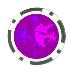 Purple, pink and magenta amoeba abstraction Poker Chip Card Guards