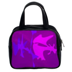 Purple, pink and magenta amoeba abstraction Classic Handbags (2 Sides)