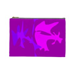 Purple, pink and magenta amoeba abstraction Cosmetic Bag (Large)