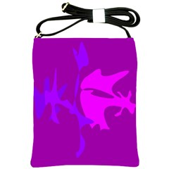 Purple, pink and magenta amoeba abstraction Shoulder Sling Bags