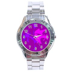Purple, pink and magenta amoeba abstraction Stainless Steel Analogue Watch