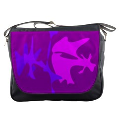 Purple, pink and magenta amoeba abstraction Messenger Bags