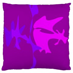 Purple, pink and magenta amoeba abstraction Large Cushion Case (One Side)