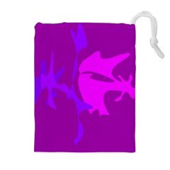 Purple, pink and magenta amoeba abstraction Drawstring Pouches (Extra Large)