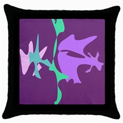 Purple amoeba abstraction Throw Pillow Case (Black)