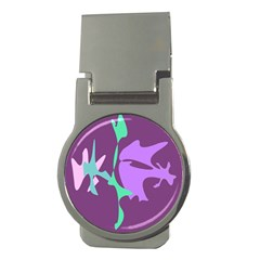 Purple amoeba abstraction Money Clips (Round)