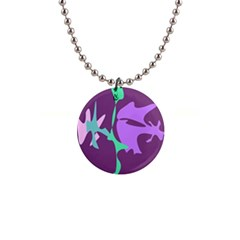 Purple amoeba abstraction Button Necklaces