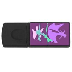 Purple amoeba abstraction USB Flash Drive Rectangular (4 GB)