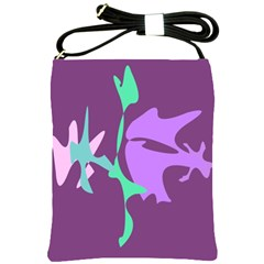 Purple amoeba abstraction Shoulder Sling Bags