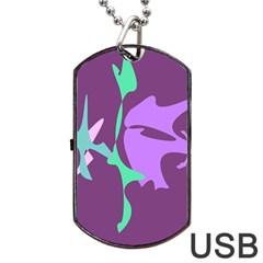 Purple amoeba abstraction Dog Tag USB Flash (One Side)