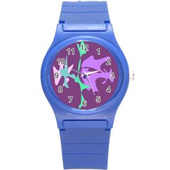 Purple amoeba abstraction Round Plastic Sport Watch (S)