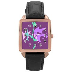Purple amoeba abstraction Rose Gold Leather Watch