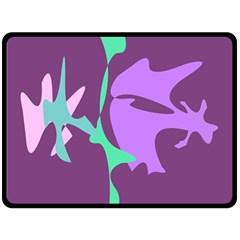 Purple amoeba abstraction Double Sided Fleece Blanket (Large)