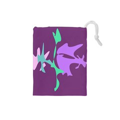 Purple amoeba abstraction Drawstring Pouches (Small)