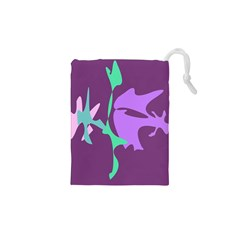 Purple amoeba abstraction Drawstring Pouches (XS)