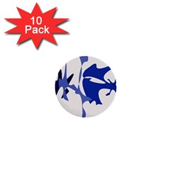 Blue amoeba abstract 1  Mini Buttons (10 pack)