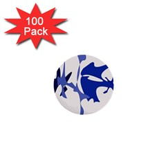 Blue amoeba abstract 1  Mini Buttons (100 pack)
