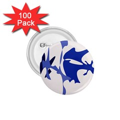 Blue amoeba abstract 1.75  Buttons (100 pack)