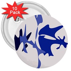Blue amoeba abstract 3  Buttons (10 pack)