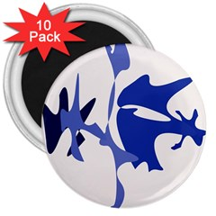 Blue amoeba abstract 3  Magnets (10 pack)