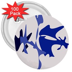 Blue amoeba abstract 3  Buttons (100 pack)