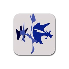 Blue amoeba abstract Rubber Square Coaster (4 pack)